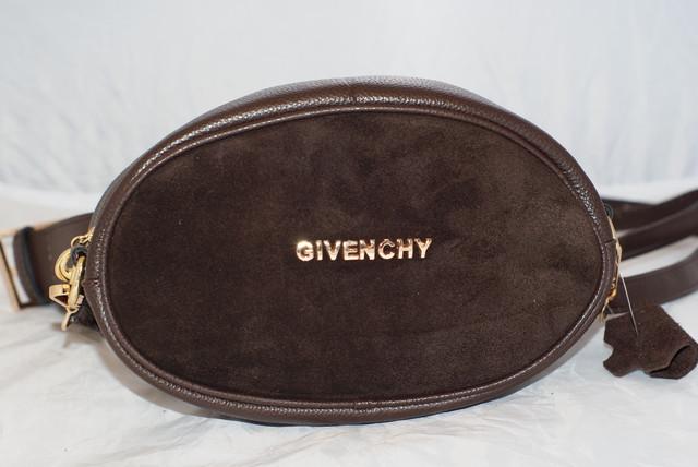 Замшевая поясная женская сумка коричневого цвета