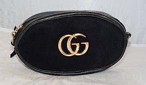 Поясная женская сумка-бананка GG, черная замша