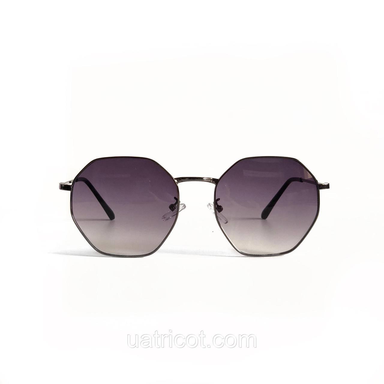 Женские солнцезащитные очки шестигранники с лавандовыми линзами