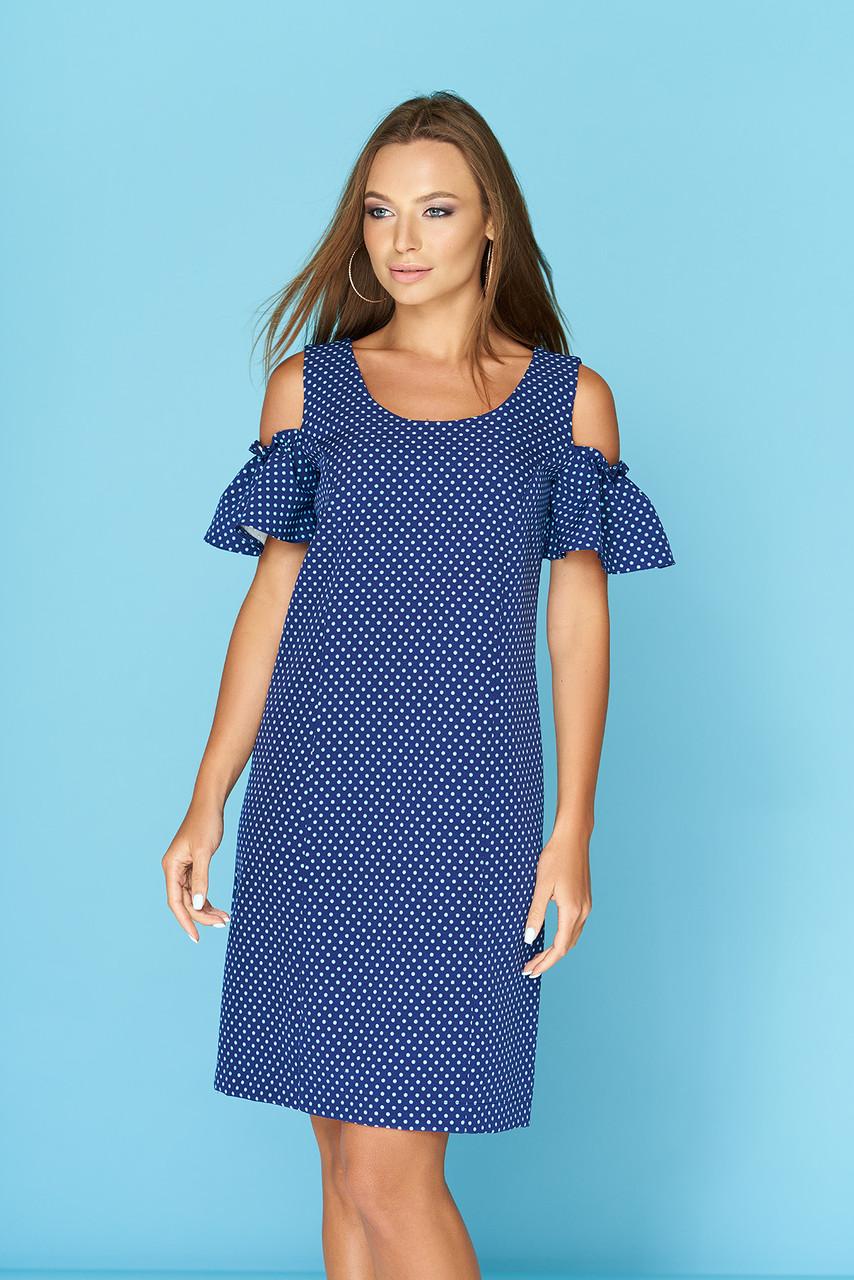 c3bef0d7bd5 Синее летнее платье до колен в горох открытые плечи с воланами