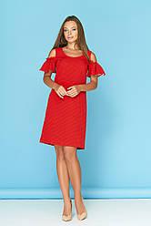 """Красное летнее платье в горошек с разрезами и воланами на плечах """"Сабина"""" 3"""