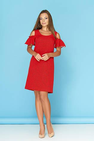 6f58c21a68b Красное летнее платье в горошек с разрезами и воланами на плечах