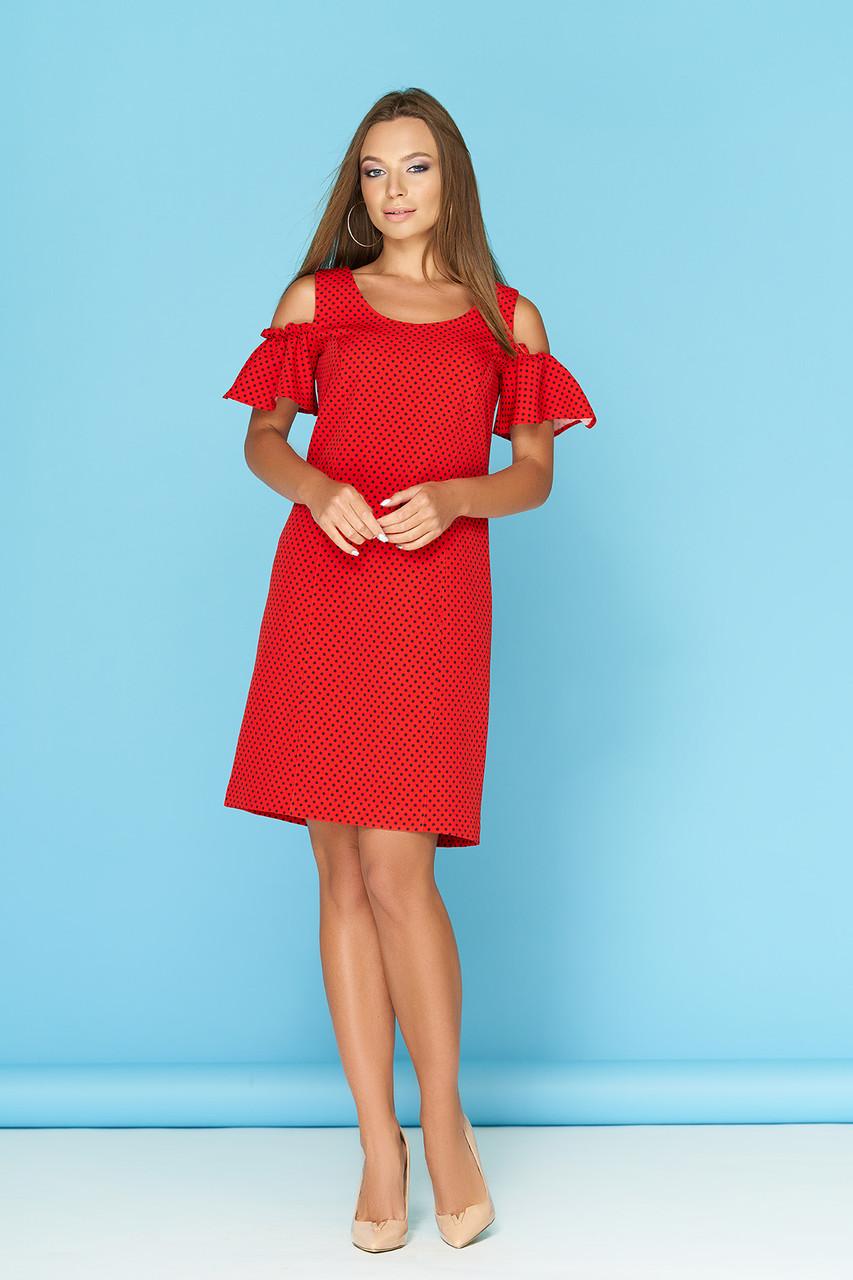 4399cf61106 Красное летнее платье в горошек с разрезами и воланами на плечах