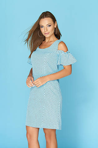 495c2227d18dd84 Голубое летнее платье по колено в горошек с открытыми плечами и воланами