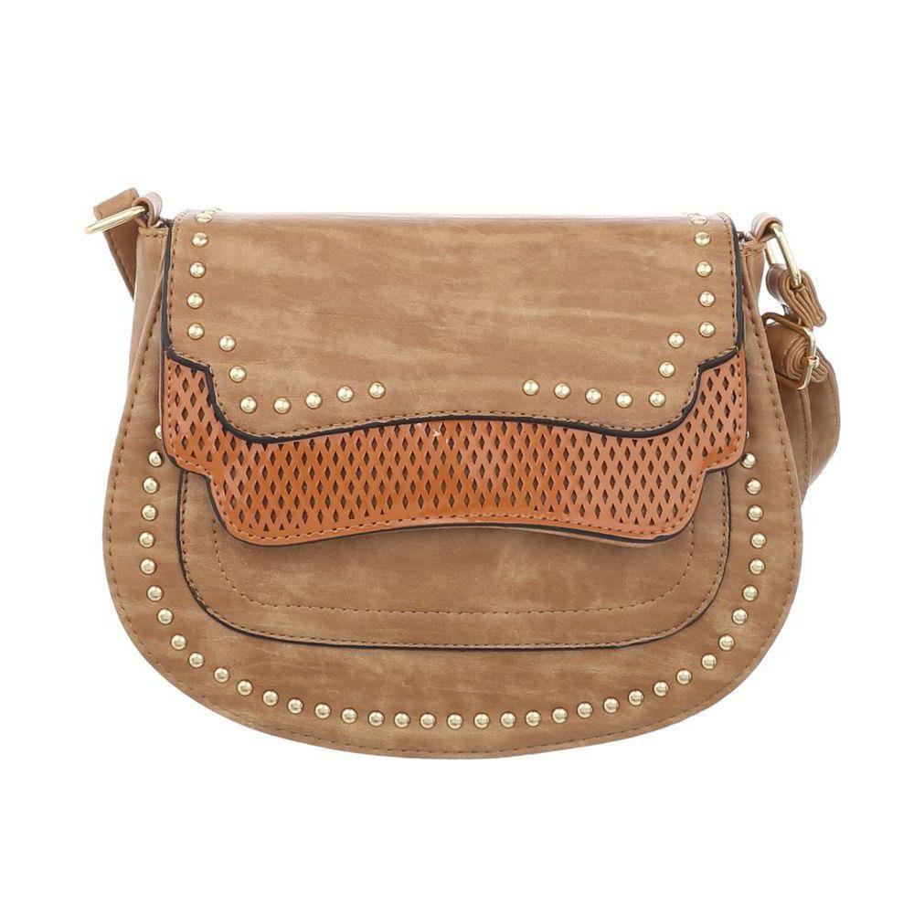 45bc390d0ab2 Кожаная сумка седло женская с заклепками (Европа), Коричневый -  Интернет-магазин Denim