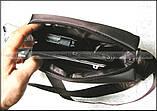 Темно коричневая водостойкая мужская сумка через плечо Polo Vicuna V8805, Оксфорд, для планшета, фото 4