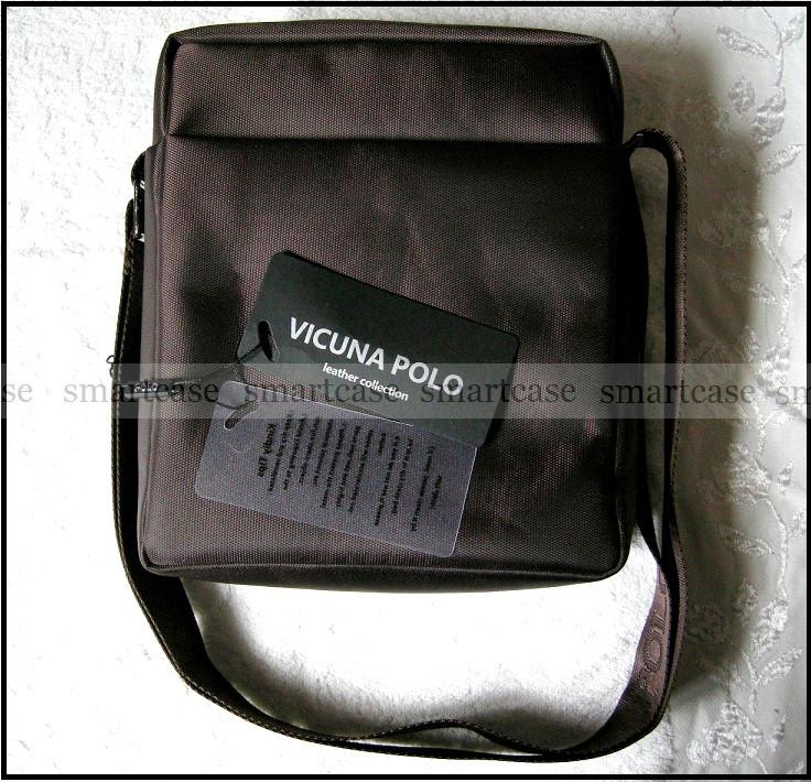 Темно коричневая водостойкая мужская сумка через плечо Polo Vicuna V8805, Оксфорд, для планшета