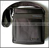 Темно коричневая водостойкая мужская сумка через плечо Polo Vicuna V8805, Оксфорд, для планшета, фото 2