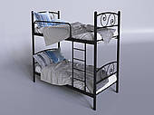 Двухъярусная металлическая кровать Tenero Viola 800х1900 мм черная с лестницей