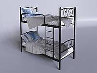 Двухъярусная металлическая кровать Tenero Viola 800х1900 мм черная с лестницей, фото 1
