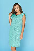 Красивое летнее платье в горошек длина средняя цвет ментол