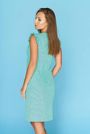 Красивое летнее платье в горошек длина средняя цвет ментол, фото 2