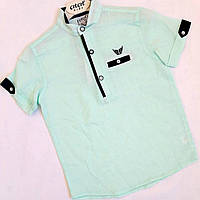 Рубашка на мальчика, 6-10 лет, бирюза