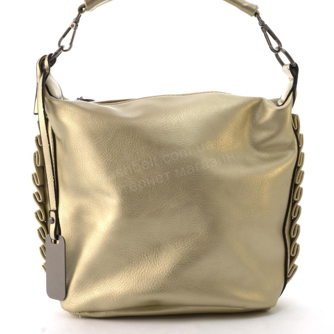 Средняя вместительная женская сумочка из эко кожи art. 890757 золотистая