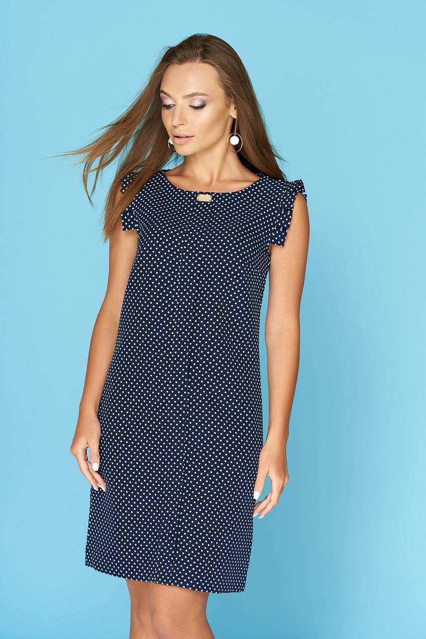 f449fa306d96f23 Летнее легкое платье в горошек средней длины темно синее -
