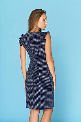 a583bbeaaf69f65 Летнее легкое платье в горошек средней длины темно синее: продажа ...