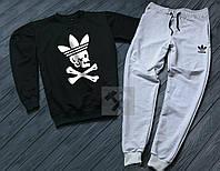 Спортивный костюм Adidas pirate logo | Чёрный верх серый низ