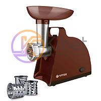 Мясорубка Vitek VT-3613 Brown, 1700W, защита двигателя от перегрузки, насадка для терки/шинковки, функция 'Реверс', производительность 1500 г/мин