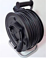 Электрический удлинитель на катушке без з/к с выносной розеткой  50м (ПВС 2*1,5)ТМ ФЕНИКС