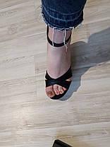 Босоножки кожаные с открытым носочком черного цвета на танкетке + ремешок Код 1535, фото 3