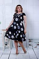 Женское летнее платье с пышной юбкой  0816 / размер 42-74 / цвет черный с тюльпанами