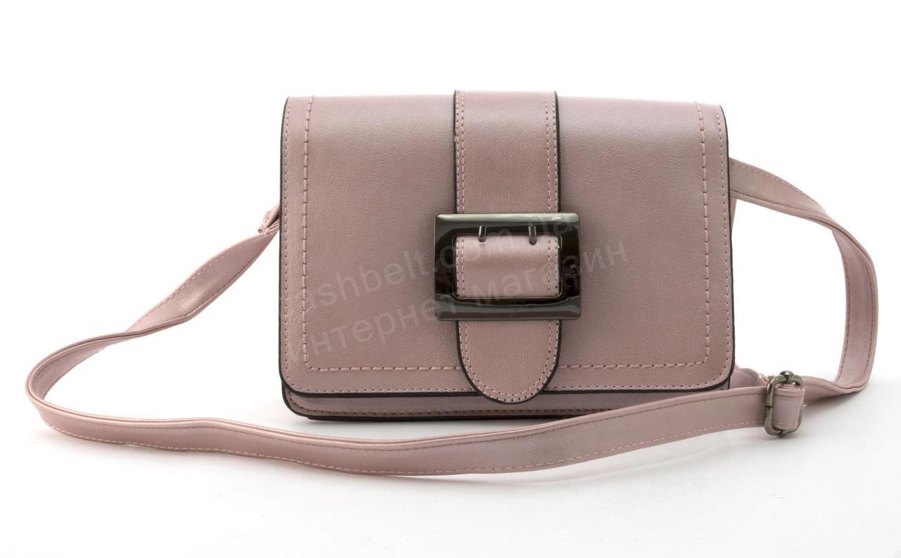 Средняя вместительная женская сумочка из эко кожи art. W13 розовая