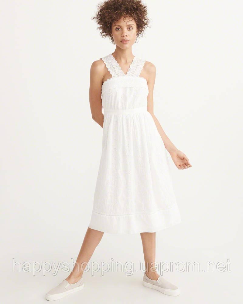 Женское белое  хлопковое платье  Abercrombie & Fitch