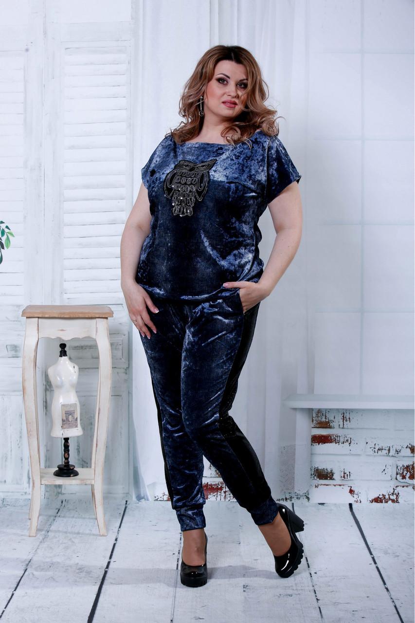 8e1b92f7e18 Синий костюм из велюра для полных женщин 0796 - V Mode