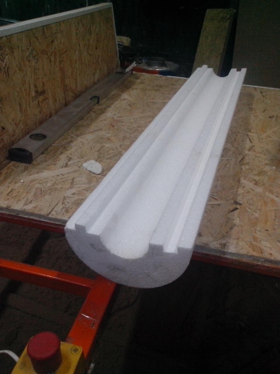 Утеплитель из пенопласта (пенополистирола) для труб Ø 121 мм толщиной 40 мм