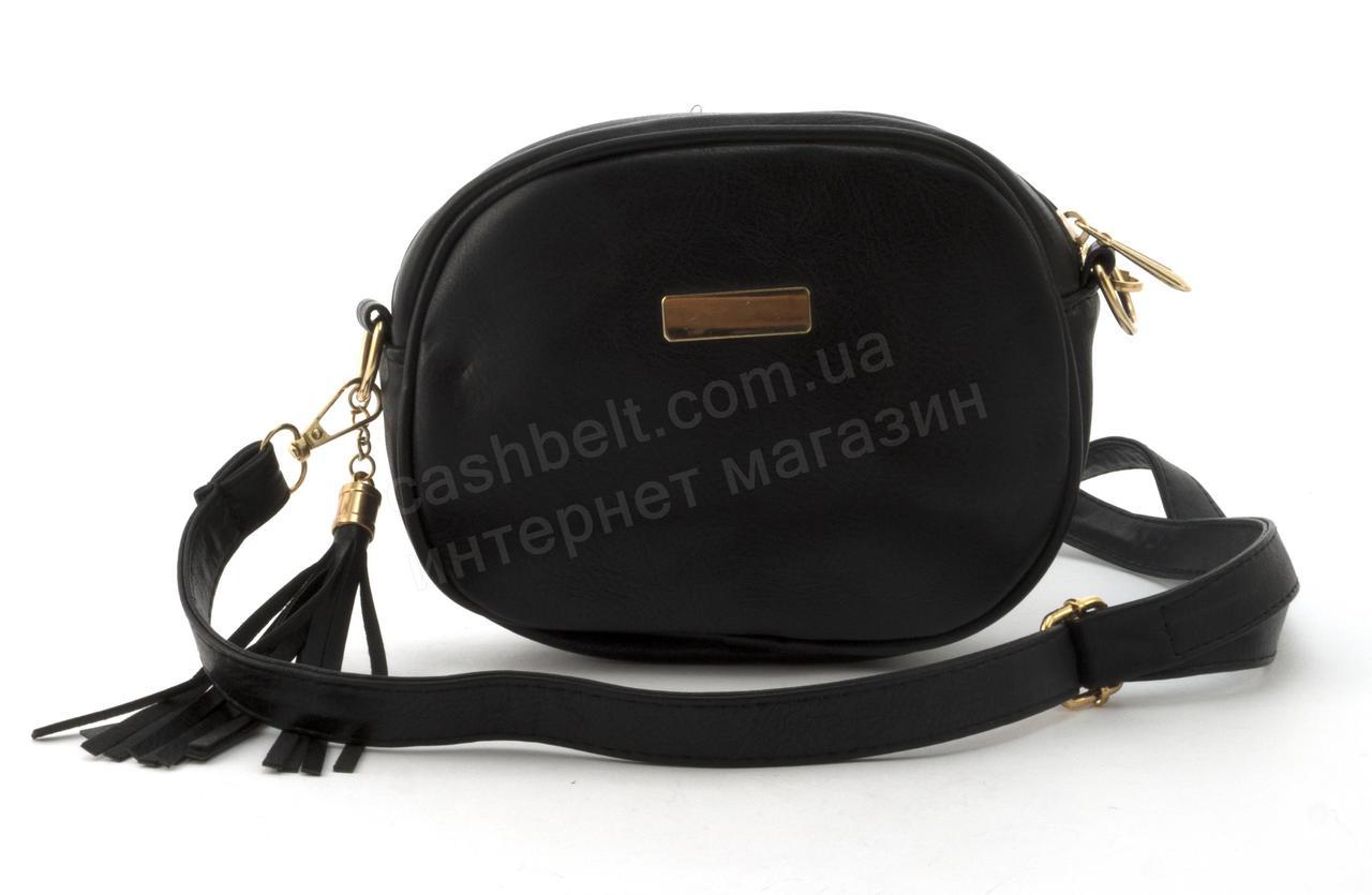 Маленькая вместительная женская сумочка из эко кожи art. 301 черная