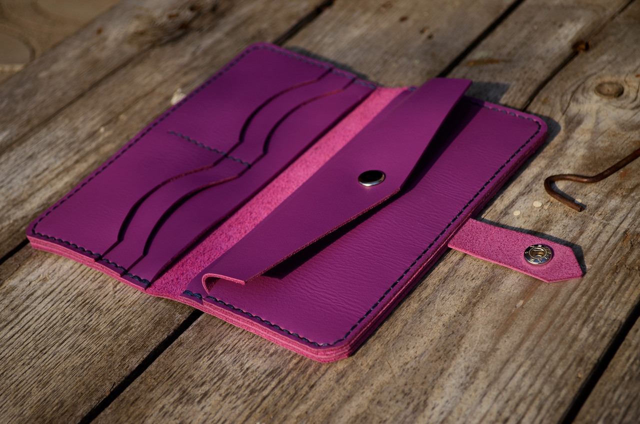 52f51f7b9f2e Портмоне ( кошелек ) сиреневого цвета из натуральной кожи ручной работы