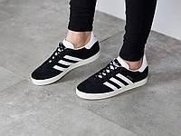 Мужские кроссовки Adidas Gazelle Адидас Газель замш черные реплика
