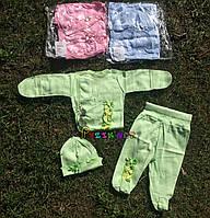 Комплект для новорожденного (распашонка+ползунки+шапочка) рибана 56 р салатовый, фото 1