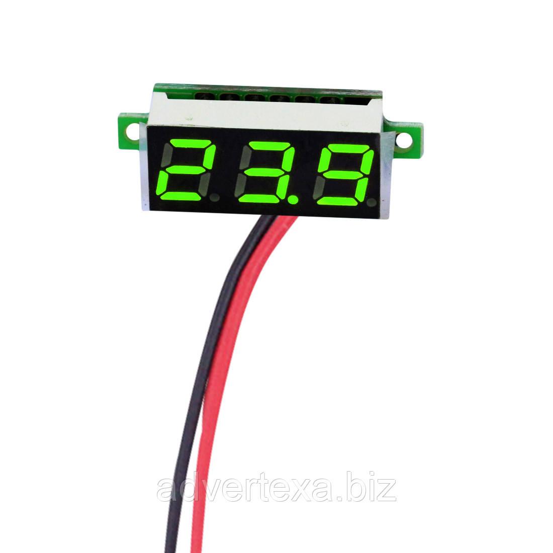 """Цифровой вольтметр 3x0.28 """" зеленый DC 2.5 - 30 В"""
