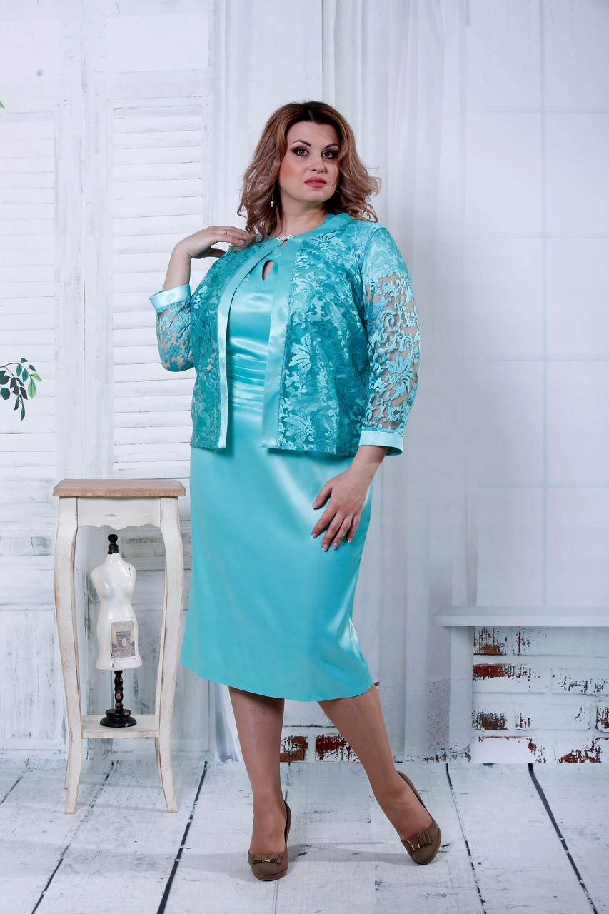 26d49beee99 Мятный вечерний костюм для полных женщин 0799 - V Mode