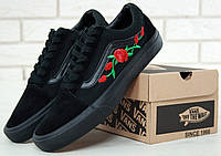 Кеды Vans Old Skool black Roses. Живое фото! (Реплика ААА+)