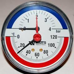 """Термоманометр аксиальный Watts F+R 818 80 1/2"""", 0-4 бар, 120 С (Польша)"""
