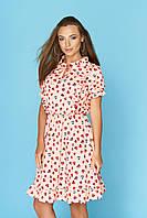 Молодежное летнее платье миди розовое с принтом