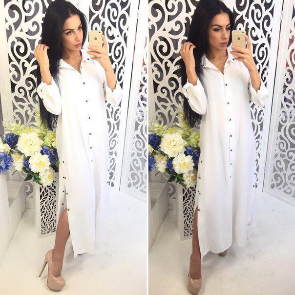 8a9dbf436ef Купить Летнее прямое лёгкое платье-рубашку макси 41031316 недорого в ...