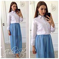 Костюм белая блузка с воротником и юбка в пол