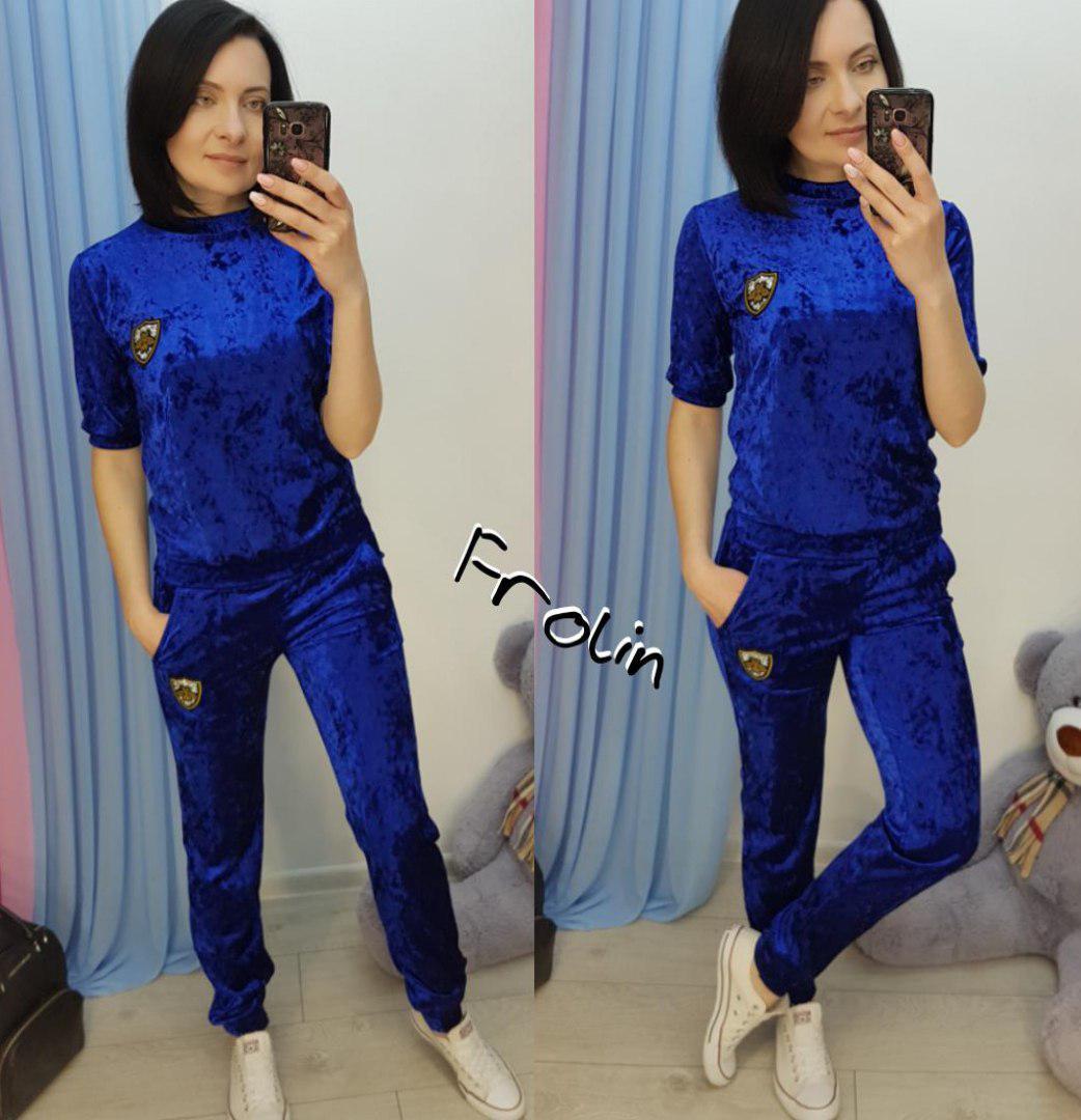 a0e0a7b5 Купить Велюровый женский спортивный костюм с коротким рукавом ...