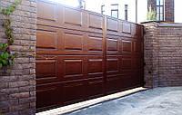 Распашные ворота Alutech ADS400 3500x1800 заполнение сэндвич-панель филенка, фото 1