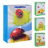 """(Цена за 12шт) Пакет подарочный бумажный """"Божьи коровки"""" 30х42см, 12 штук в упаковке, с ручками, пакет для подарка, картонный пакет сувенирный,"""