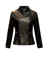 Куртка кожаная приталенная двубортная с баской черная