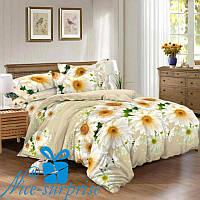 Комплект постельного белья с двумя пододеяльниками из сатина РОМАШКИ