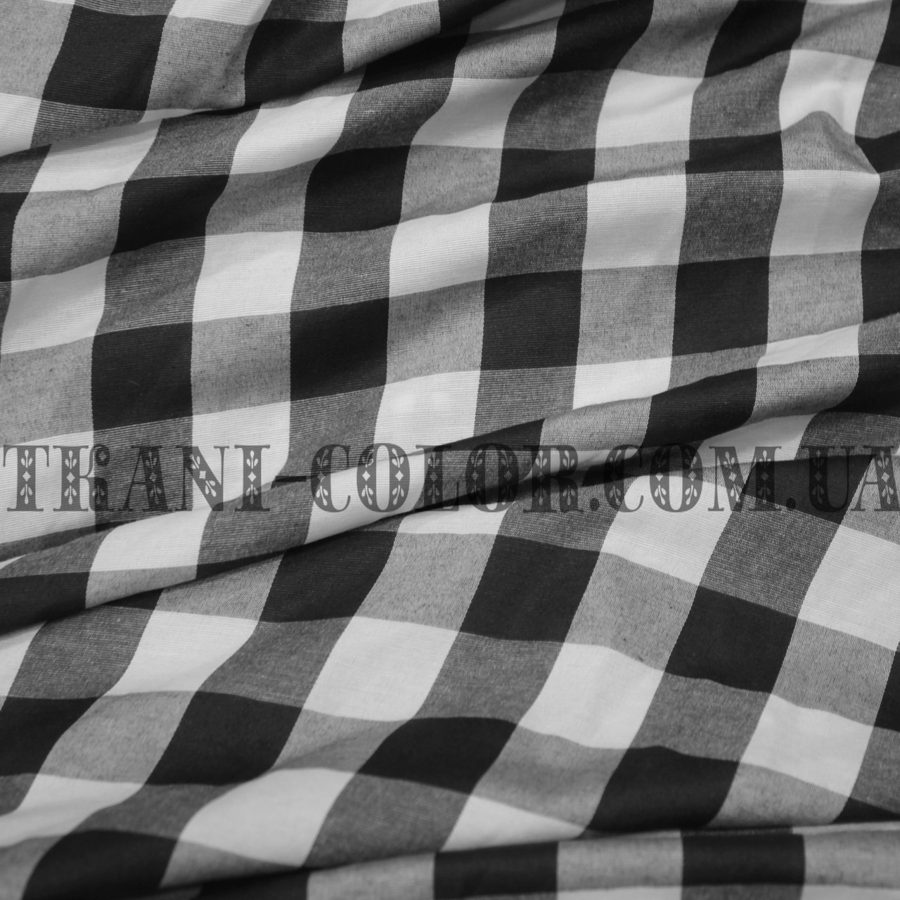 Рубашечная ткань принт клетка (черный+белый)