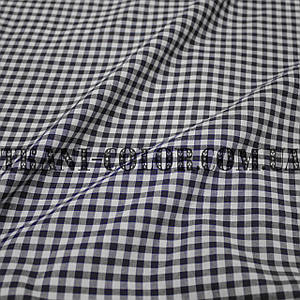 Рубашечная ткань принт клетка 5мм (темно-синий+белый)