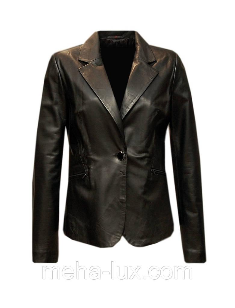 Куртка кожаная Vicentini классическая на одну пуговицу черная