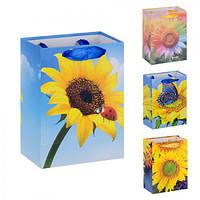 """(Цена за 12шт) Пакет подарочный бумажный """"Подсолнух"""" 11х15см, 12 штук в упаковке, с ручками, пакет для подарка, картонный пакет сувенирный, картонный"""