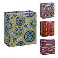 """(Цена за 12шт) Пакет подарочный бумажный """"Этно"""" 26х32х10см, 12 штук в упаковке, с ручками, пакет для подарка, картонный пакет сувенирный, картонный"""